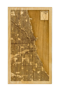 Chicago Wood Map | Flame Birch - Blue Dot Maps