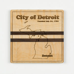 Detroit Coaster | Walnut & Curly Maple - Blue Dot Maps