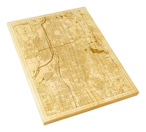 Grand Rapids Wood Map | Flame Birch - Blue Dot Maps