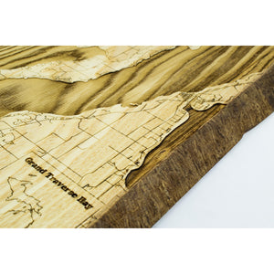 Live Edge Grand Traverse Bay Wood Map | Ash - Blue Dot Maps
