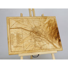 Vintage Paris Wood Map | Flame Birch | Medieval France - Blue Dot Maps