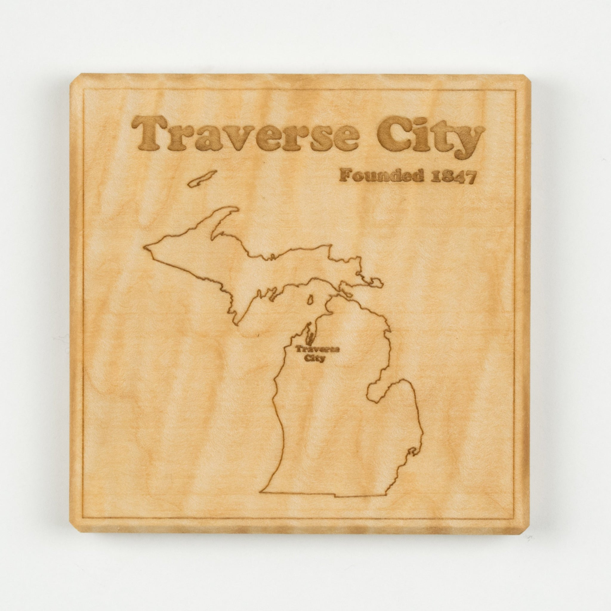 Traverse City Coaster | Curly Maple - Blue Dot Maps