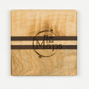 Traverse City Coaster | Walnut & Curly Maple - Blue Dot Maps