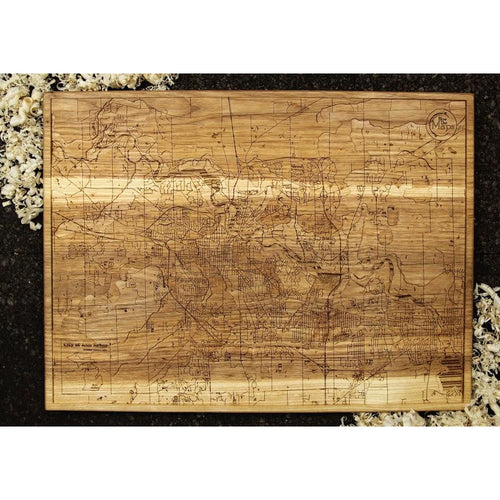 Ann Arbor Topography Wood Map | Ash