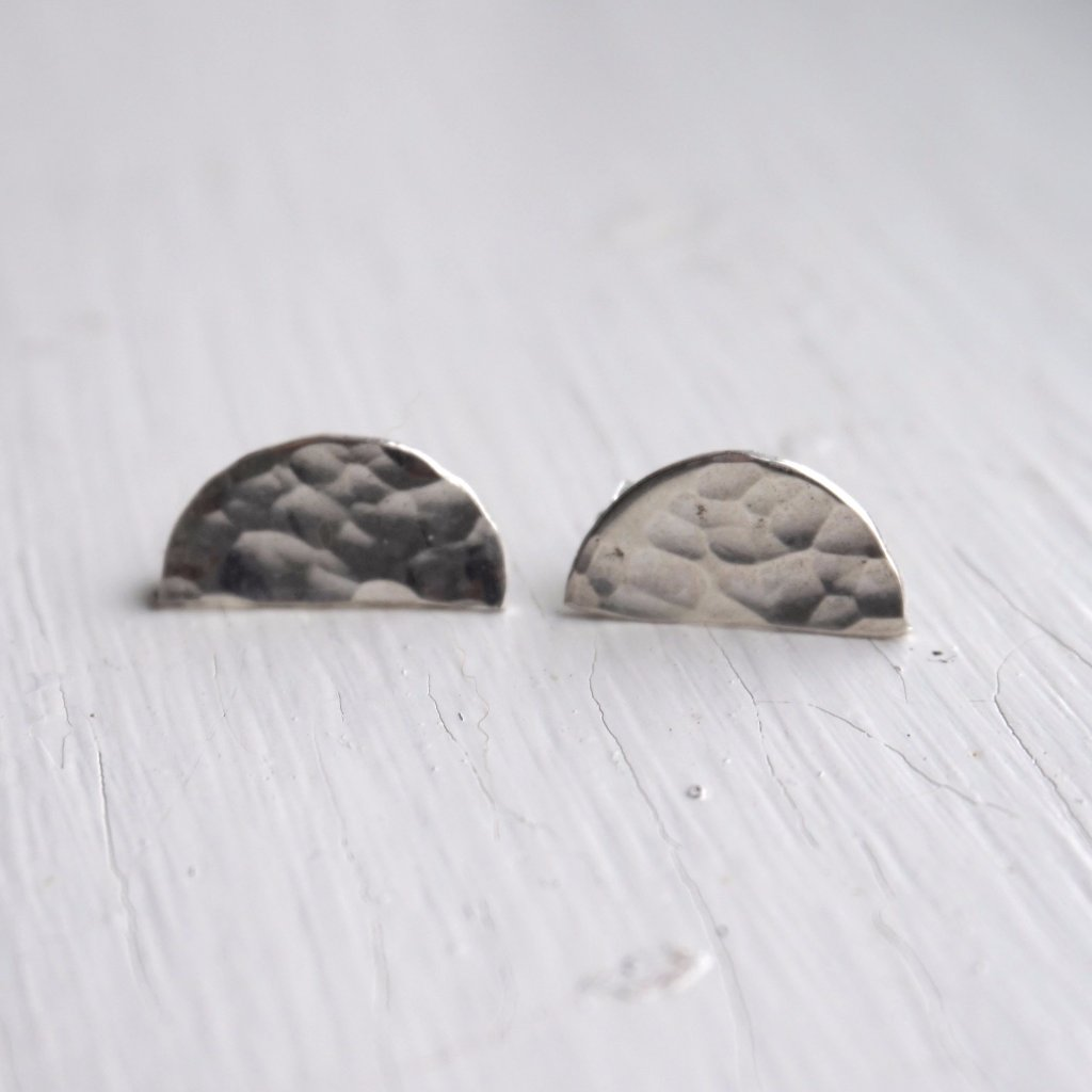 Half Moon Earrings, sterling silver, hammered texture