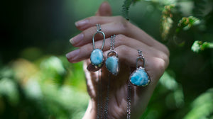 OOAK Blue Oval Larimar Necklace, sterling silver