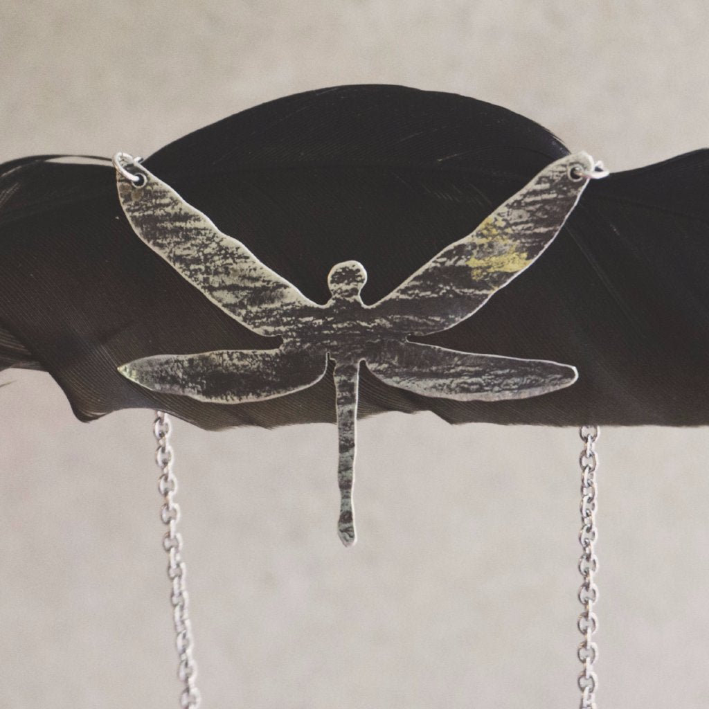 Moth Metal, dragonfly pendant - sterling silver, 24k gold