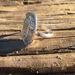 Dragon Fly Statement Ring, Sterling Silver, wax seal