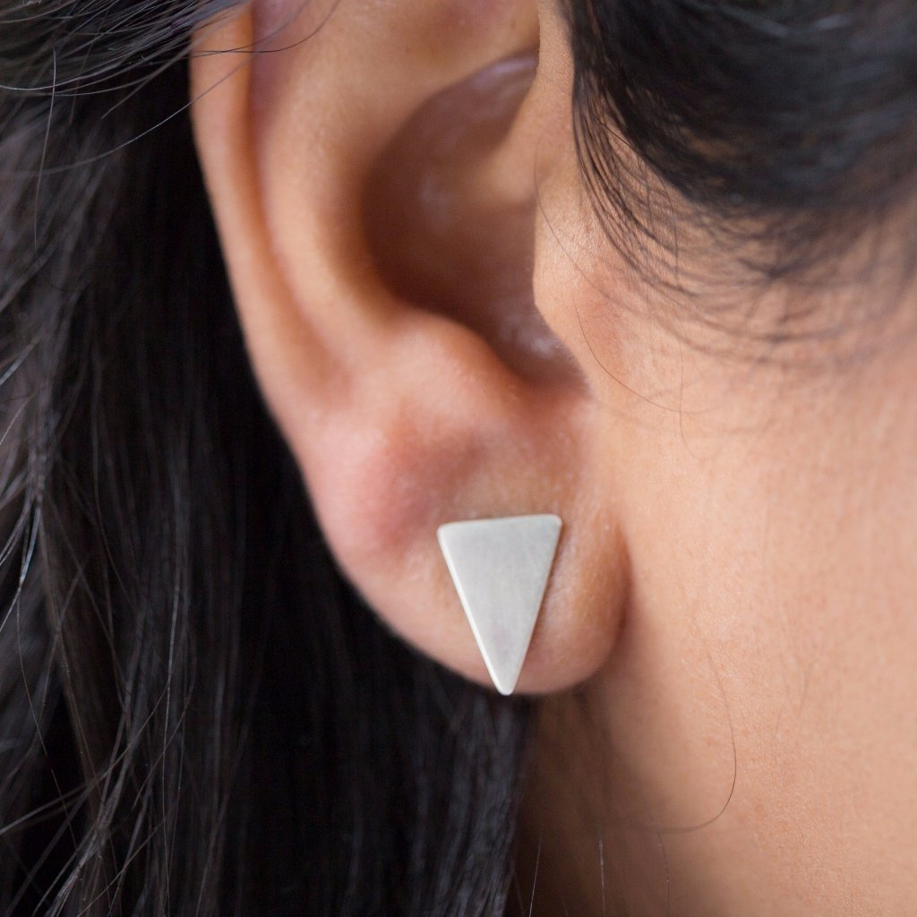 Triangle Stud Earrings, sterling silver, geometric earrings