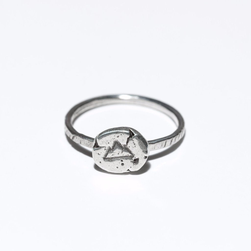 Mountain Raw Silver Ring, sterling silver