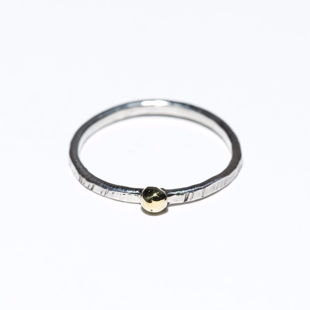 Dot Stacking Ring, brass, sterling silver, minimalist