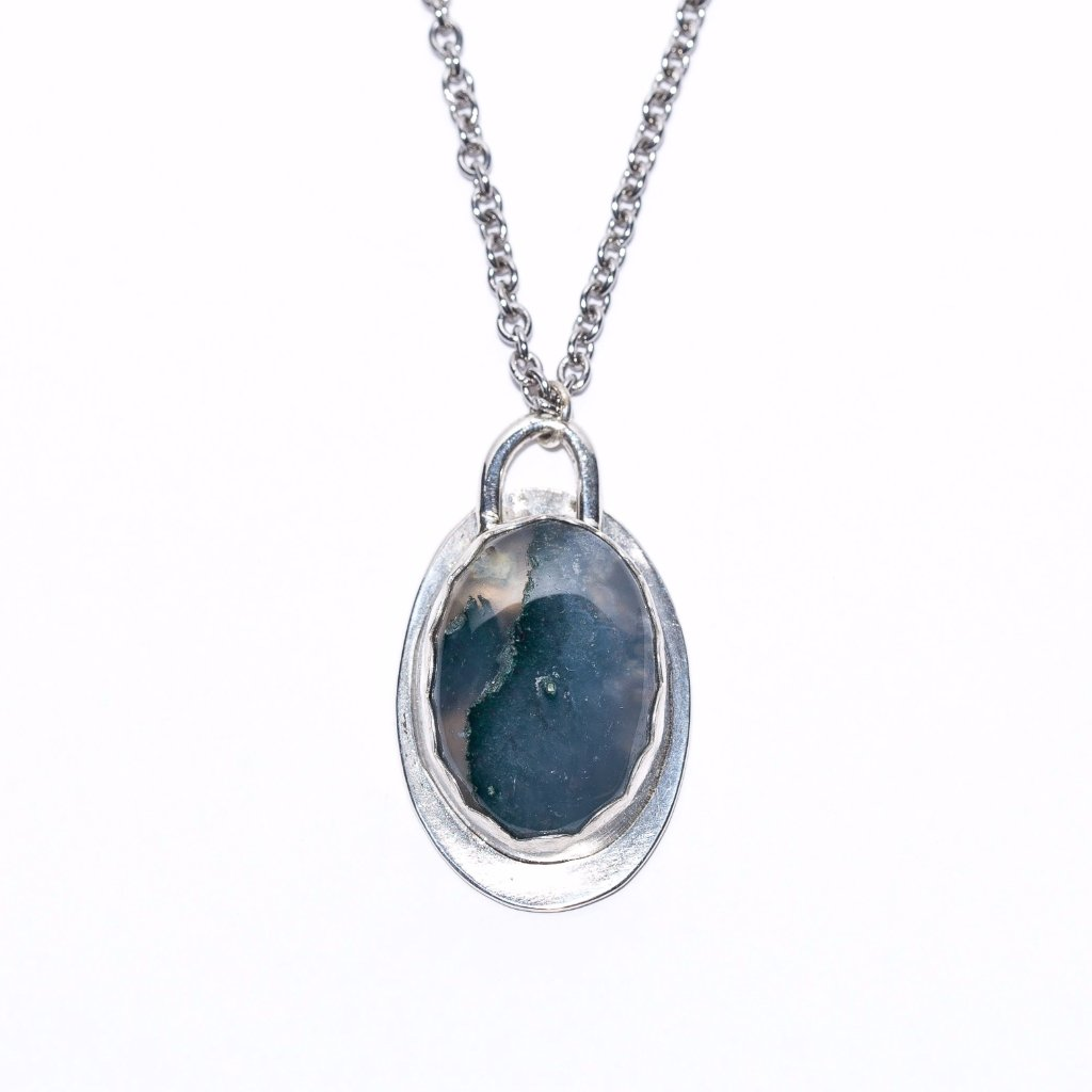 Green Moss Agate Pendant, sterling silver