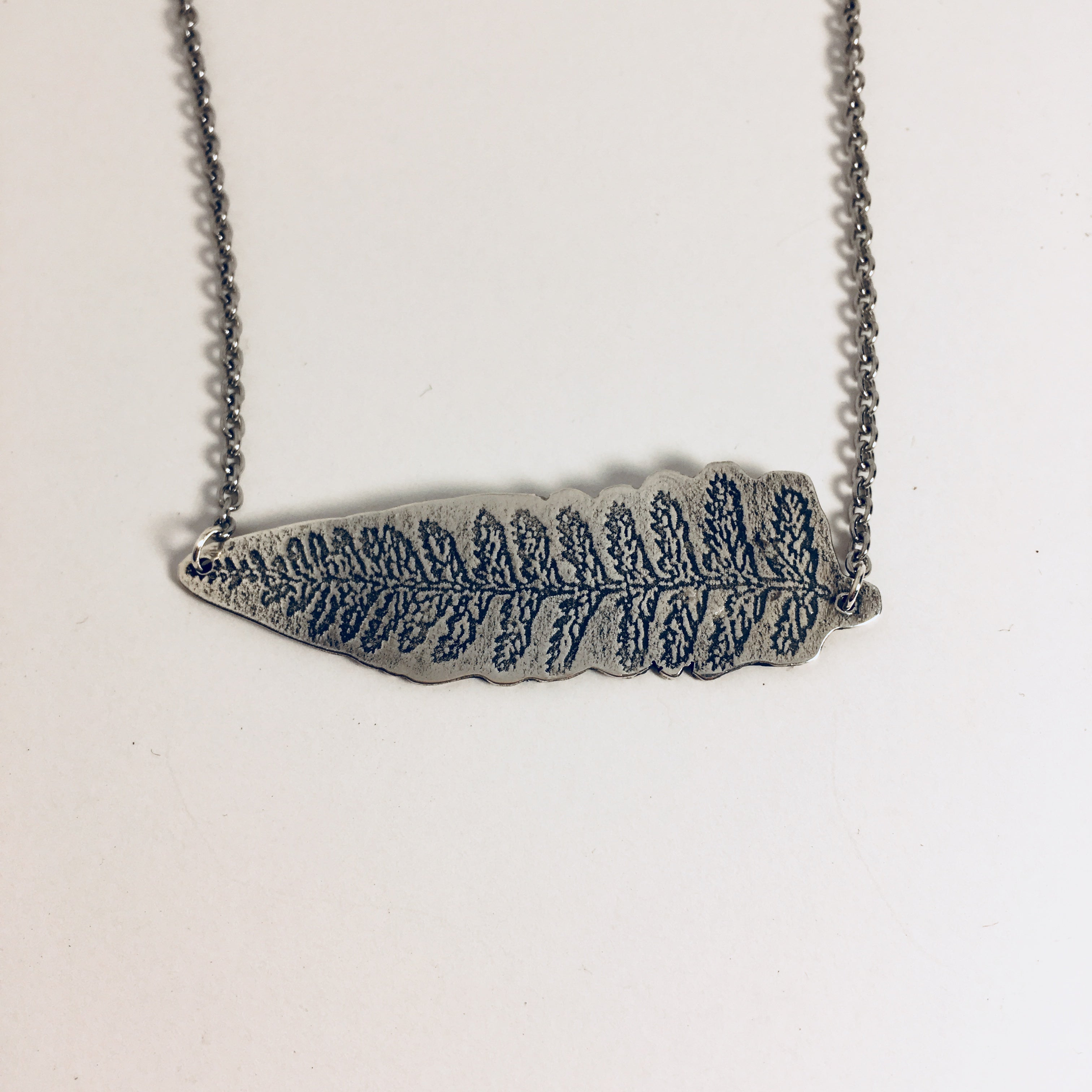 Fern Bar Necklace, sterling silver