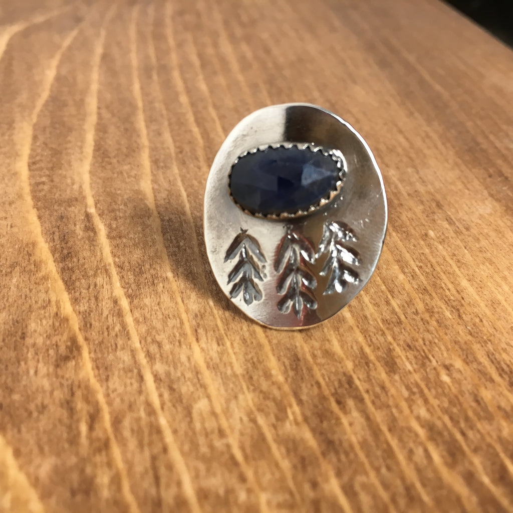 Pine Forest Ring, size 5, sterling silver, sapphire