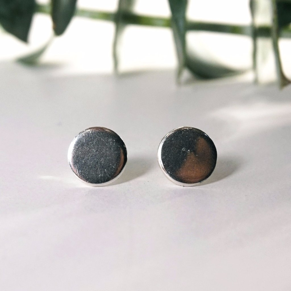 Circle Geometric Stud Earrings, Sterling Silver, classic
