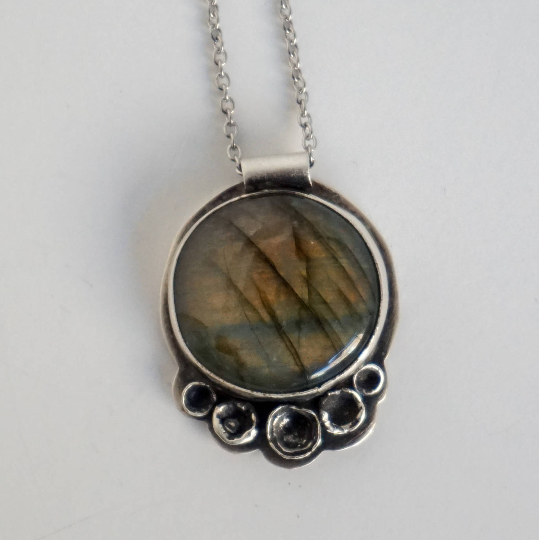 Labradorite Statement Necklace, sterling silver, one of a kind