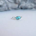 Mexican Turquoise Silver Ring, size 7
