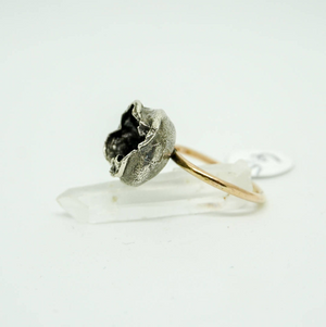 Water Cast Ring, size 6.5, sterling silver, gold fill band