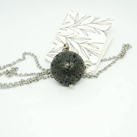 Round Lava Rock Aromatherapy Necklace, sterling silver