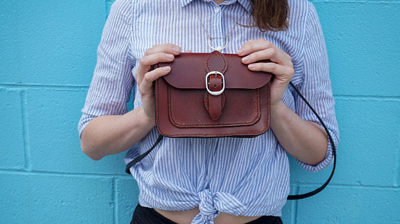 Small Leather Satchel, cinnamon colour