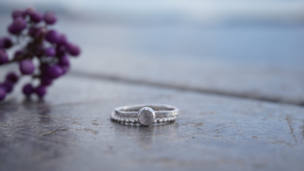 Moonstone Stacking Ring, sterling silver