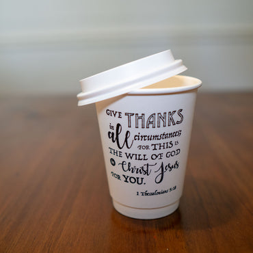1 Thessalonians 5:18 Stamped Insulated Paper Cup