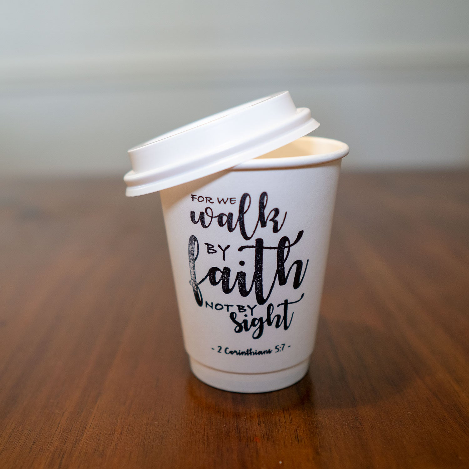 2 Corinthians 5:7 Stamped Insulated Paper Cup