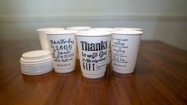 7 Days of Gratitude – Stamped Insulated Paper Cups with Lids, 12 oz, 7 Counts