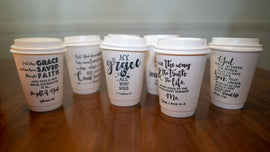 7 Days of the Gospel – Stamped Insulated Paper Cups with Lids, 12 oz, 7 Counts