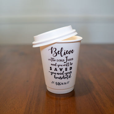 Acts 16:31 Stamped Insulated Paper Cup