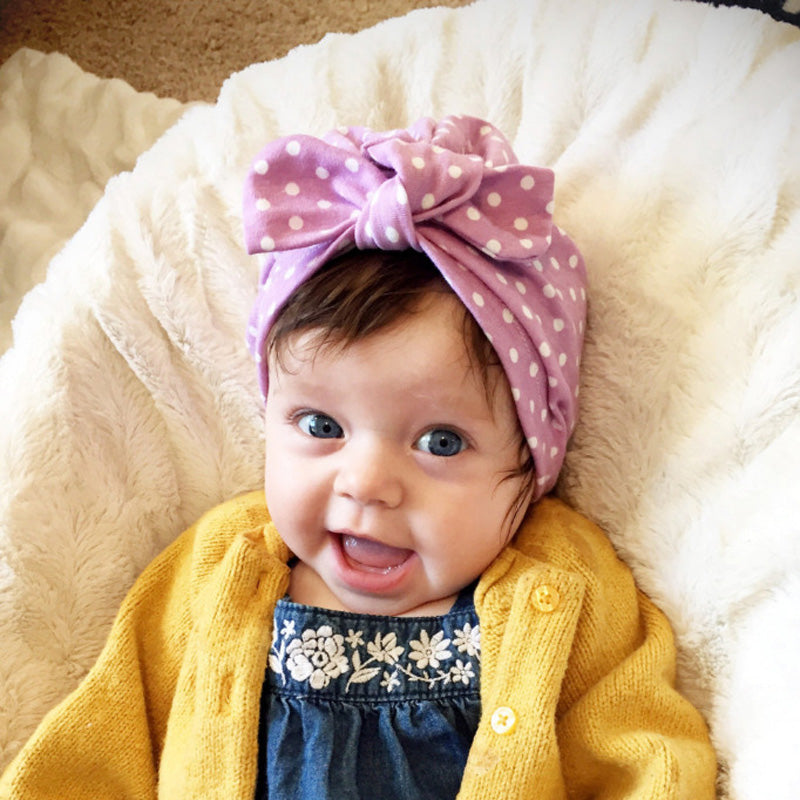 baby turban hat with top knot bow - purple polka dot – Heads + Chins f0ecf8330e4