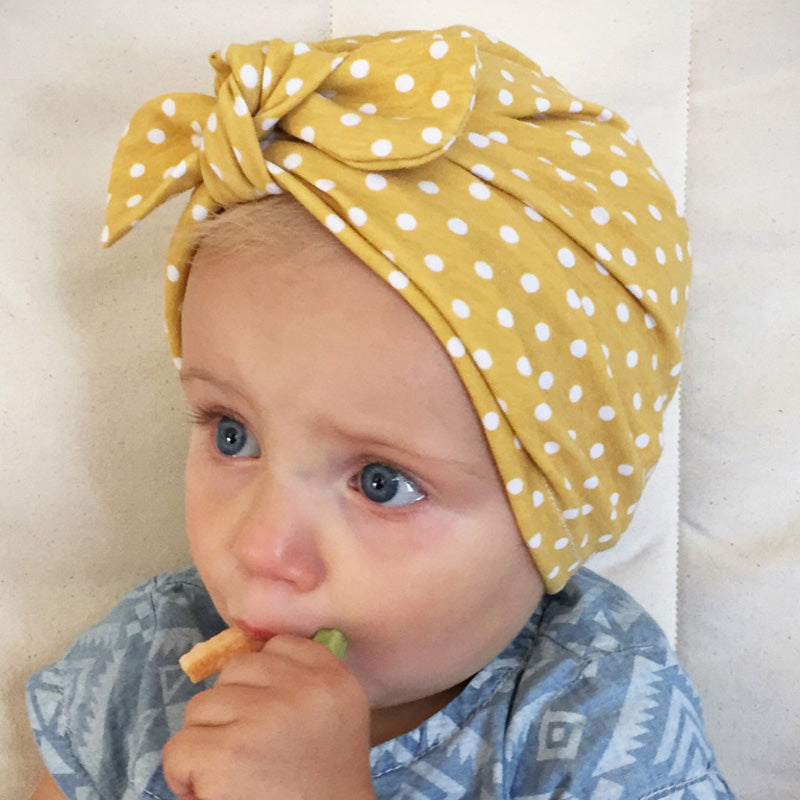 baby turban hat with top knot bow - yellow polka dot – Heads + Chins 0947a18af51