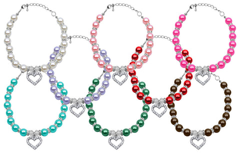 Heart and Pearl Necklace - Your Star Pet