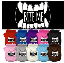 Bite Me Screen Print Dog Hoodie