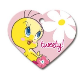 Tweety Large Heart ID Tag - YourStarPet