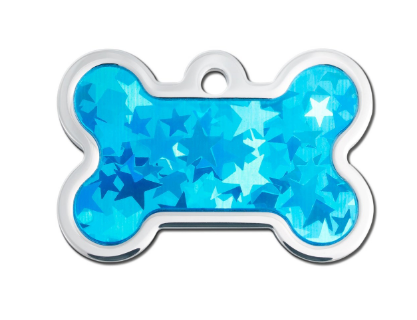 Large Blue Hologram Bone ID Tag - YourStarPet