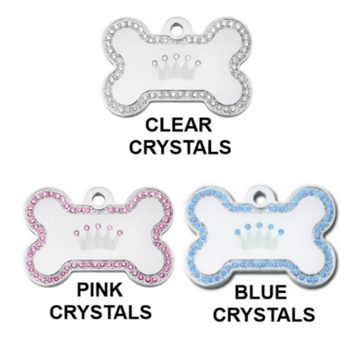 Swarovski Crystal Crown Bone ID Tag - YourStarPet