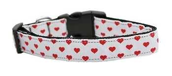 White and Red Dotty Hearts Nylon Dog Collar