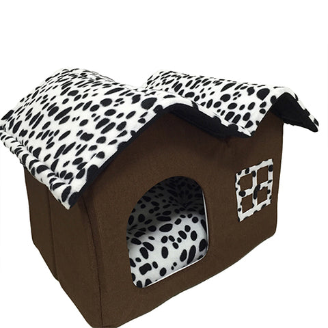 Dog/Cat House Animal Print Bed - Your Star Pet