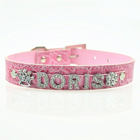 Leather Collar With DIY Personalized Rhinestone Charms