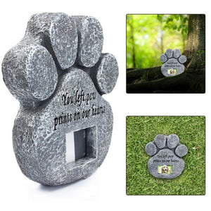 Paw Print Memorial Stone With Photo Frame - YourStarPet