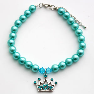 Fancy Pearls With Crown Charm Pendant - YourStarPet