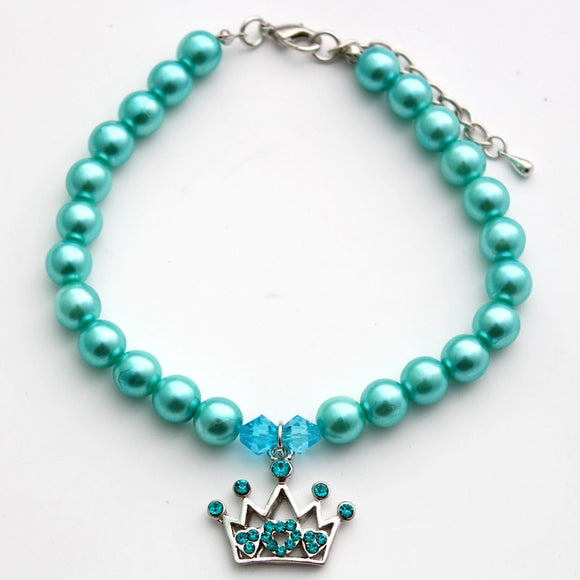 Fancy Pearls With Crown Charm Pendant - Your Star Pet