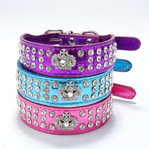 Leather Rhinestone Crown Pet Collar - YourStarPet