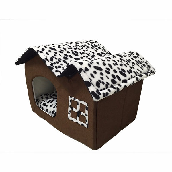Dog/Cat House Animal Print Bed - YourStarPet