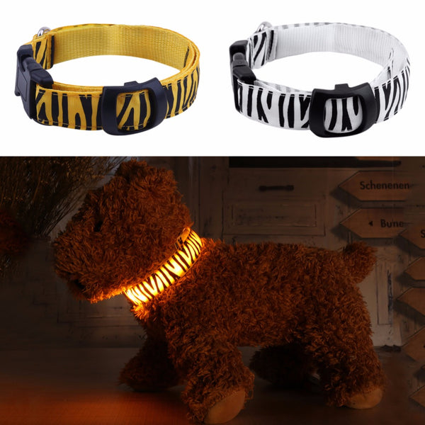USB Rechargeable LED Pet Collar Animal Print