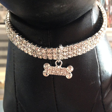 Fancy Rhinestone Collar With Bone Charm - Your Star Pet