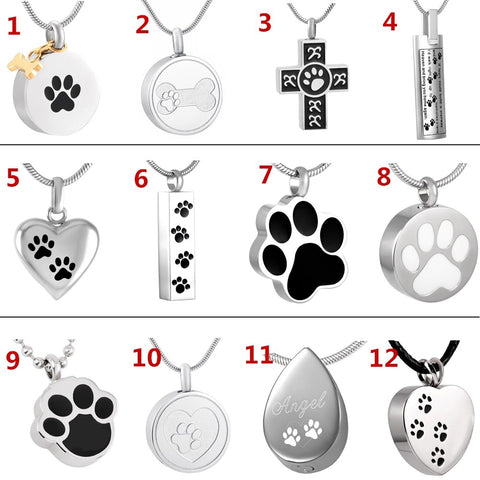 Paw Print Keepsake Urn Necklace (12) Styles - YourStarPet