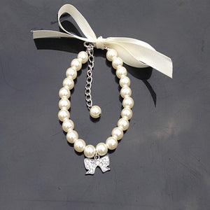 Pearl Silk Ribbon Pet Collar w/Pendant