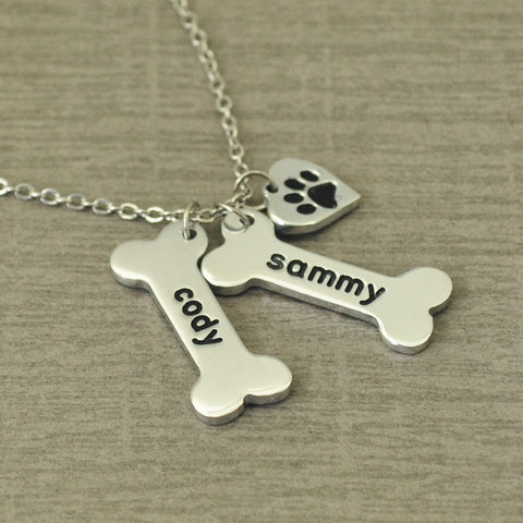 Paw and Bone Personalized Necklace